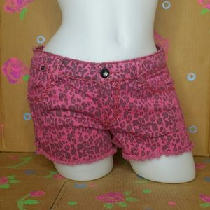 1st Kiss Pink Leopard Print Distressed Shorts 9